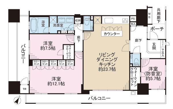 ガーデンアソシエJ棟の間取図/13F/6,980万円/3LDK/120.05 m²
