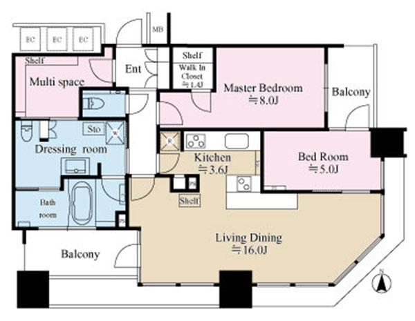 スカイズ タワー&ガーデンの間取図/13F/9,380万円/2LDK/84.94 m²
