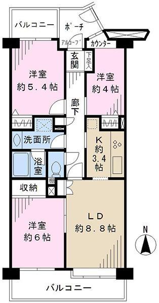 東建ニューハイツ港南中央の間取図/5F/1,680万円/3LDK/65.9 m²