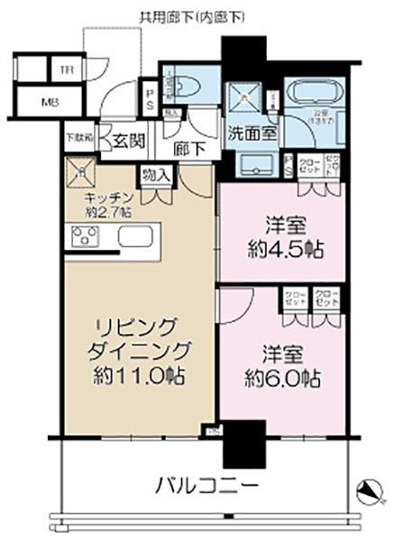 Brillia有明City Towerの間取図/10F/5,180万円/2LDK/55.38 m²