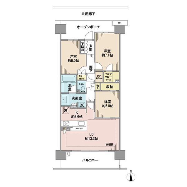 ブリリア多摩ニュータウンの間取図/6F/3,580万円/3LDK/80.25 m²