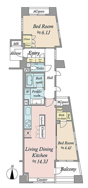 ブリリア新宿若松町idの間取図/3F/5,980万円/2LDK/59.49 m²