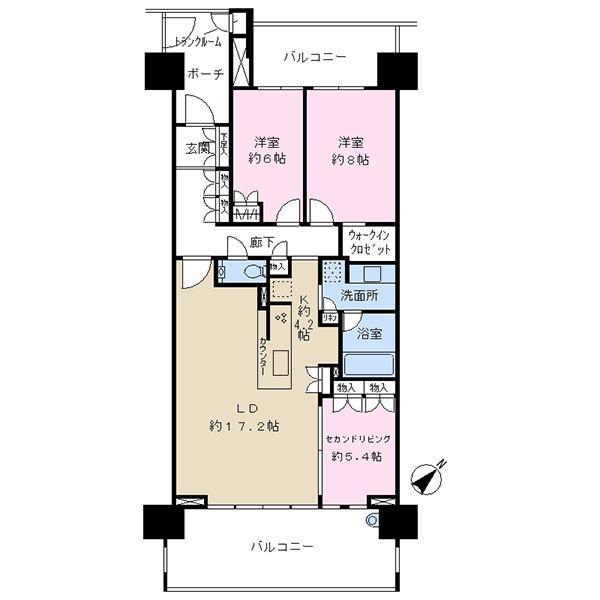幕張ベイタウン グリーナの間取図/13F/4,650万円/2LDK/92.39 m²