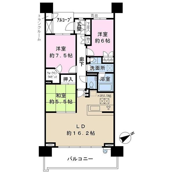 幕張ベイタウン グリーナの間取図/1F/3,200万円/3LDK/84.77 m²