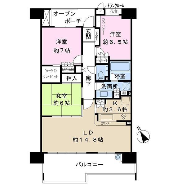 ファーストウイングの間取図/6F/3,390万円/3LDK/85.11 m²