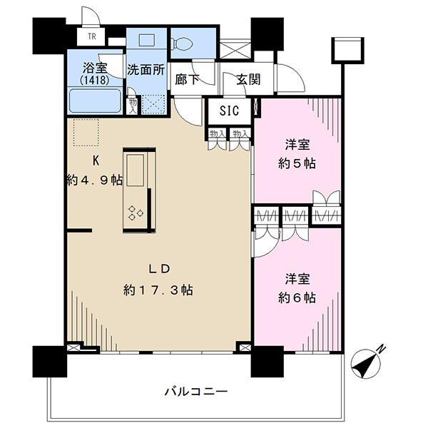 ブリリア有明シティタワーの間取図/25F/6,980万円/2LDK/70.58 m²