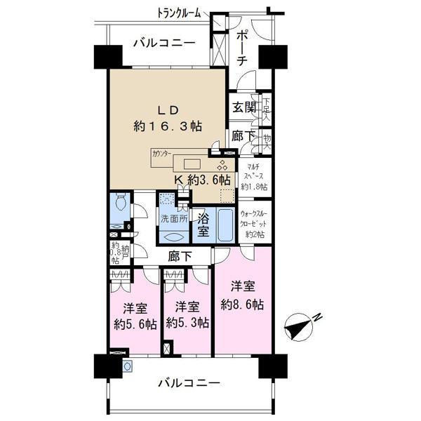 幕張ベイタウングリーナの間取図/13F/4,950万円/3LDK/96.02 m²