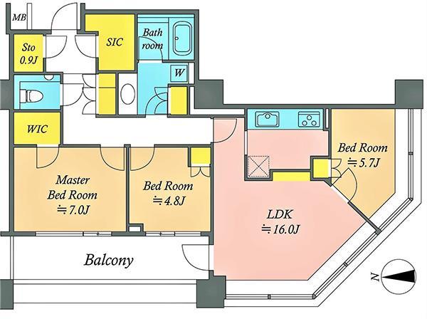 ブリリアタワー東京の間取図/13F/10,500万円/3LDK/82.72 m²