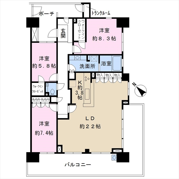 幕張ベイタウングリーナの間取図/12F/5,850万円/3LDK/109.07 m²