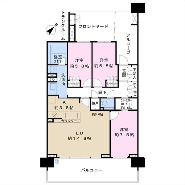 幕張ベイタウングリーナの間取図/6F/4,300万円/3LDK/88.67 m²